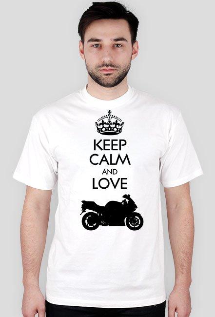 Keep Calm and love moto v2 biała M - koszulka