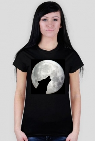 Wilk i księżyc koszulka damska