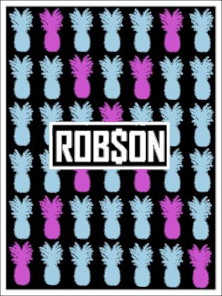 Rob$on - Kolorowe Ananasy - Czarna Damska