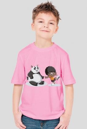Koszulka chłopięca - panda i chłopiec
