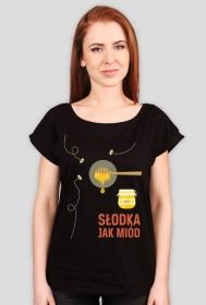 Słodka jak miód - koszulka damska czarna - skosztuj.to
