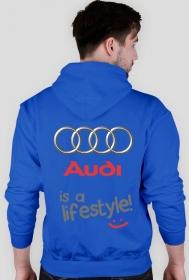 """Bluza z kapturem """"Audi - is a lifestyle"""" wszystkie kolory (TYL)"""