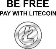 BE FREE pay with Litecoin (biała)