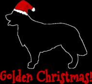 Damska świąteczna koszulka (dekolt) - biała - Golden Retriever