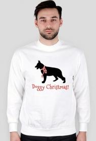 Męska świąteczna bluza - biała - Owczarek Niemiecki