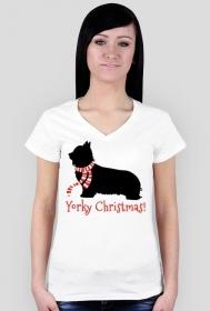 Damska świąteczna koszulka (dekolt) - biała - York