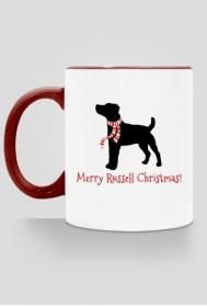Świąteczny kubek z czerwonym uchem - Russell Terrier
