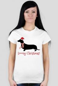 Damska świąteczna koszulka - biała - Jamnik