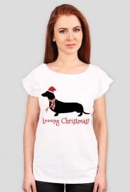 Damska świąteczna koszulka (wycięcie) - Jamnik