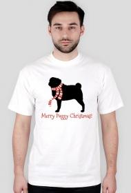 Męska świąteczna koszulka - biała - Mops