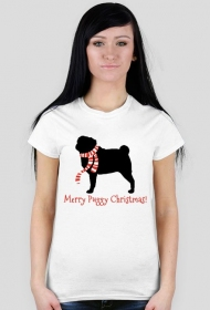 Damska świąteczna koszulka - biała - Mops