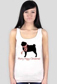 Damski świąteczny top - biały - Mops