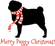 Świąteczny kubek z czerwonym uchem - Mops