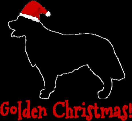 Męska świąteczna koszulka - biała - Golden Retriever