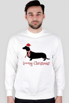 Męska świąteczna bluza - biała - Jamnik