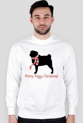 Męska świąteczna bluza - biała - Mops