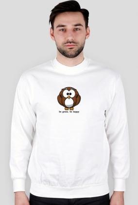 Bluza Biała Męska bez Kaptura. Szczęśliwa Sowa