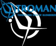 Kubek troman logo white-blue