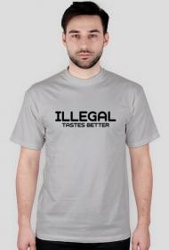 Koszulka męska ILLEGAL TASTES BETTER biała i szara.