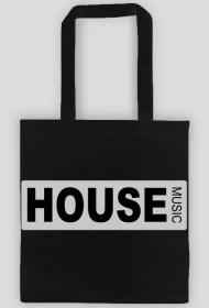 Black cotton bag HOUSE MUSIC.