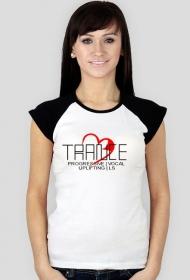 Koszulka damska biała z czarnymi ramiączkami TRANCE.