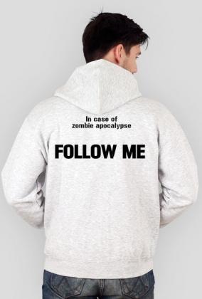 "Szara bluza z kapturem ""In case of zombie apocalypse..."""