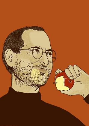 Steve Jobs jedzący jabłko