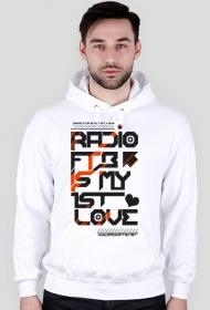 "Bluza męska z kapturem ""Radio FTB Love"" - biała"