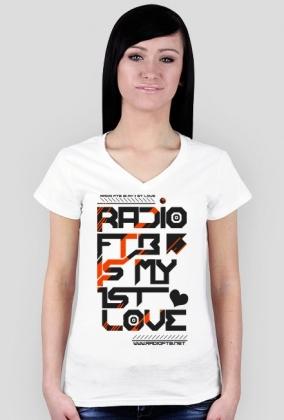 """Koszulka damska V-neck """"Radio FTB Love"""" - dwie wersje kolorystyczne"""