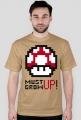 Koszulka T-shirt z nadrukiem Mario Czerwony Grzybek Must Grow Up Musi Urosnąć