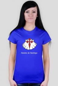 Koszulka Camino de Santiago- muszla z krzyżem (damska)