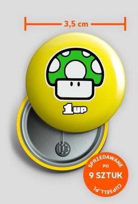 Przypinka Mario 1up